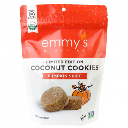 Emmy's Organics Grain-Free Coconut Cookies Limited Edition Pumpkin Spice, 170g