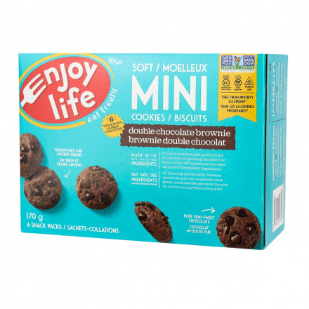 Enjoy Life Gluten-Free Soft Baked Mini Cookies Double Chocolate Brownie, 170g