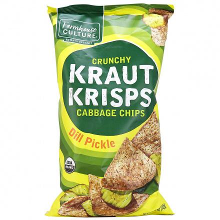Front of Farmhouse Culture Crunchy Kraut Krisps Dill Pickle Chips, 142g