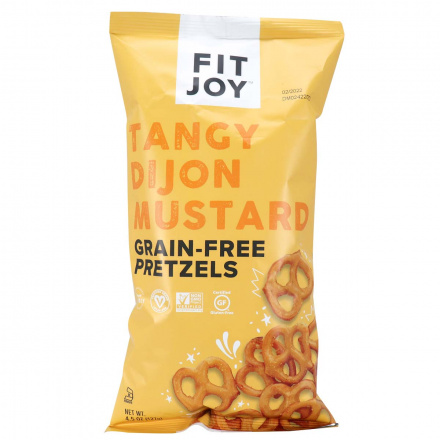 Front fo Fit Joy Grain-Free Pretzels Tangy Dijon Mustard, 127g
