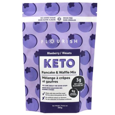 Front of Flourish Pancakes Keto Pancake & Waffle Mix Blueberry, 283g