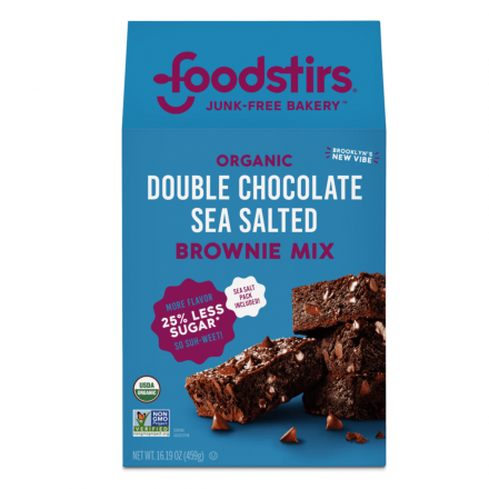 Front of Foodstirs Less Sugar Double Chocolate Sea Salted Brownie Mix, 459g