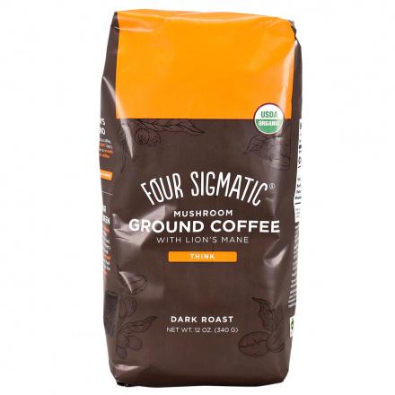 Front of Four Sigmatic Mushroom Coffee Mix Dark Roast Ground with Lion's Mane & Chaga, 340g