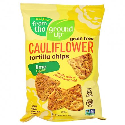 From The Ground Up Cauliflower Tortilla Chips Lime, 128g