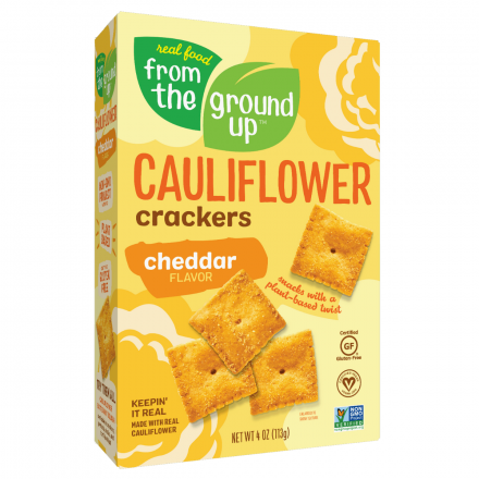 Front of From The Ground UP Cheddar Cauliflower Crackers, 113g