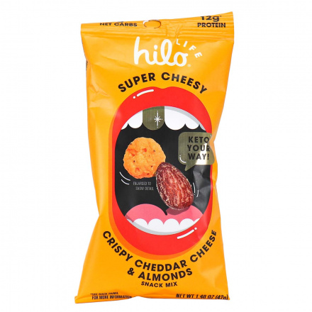 Front of Hilo Life Super Cheesy Crispy Cheddar Cheese & Almonds Snack Mix