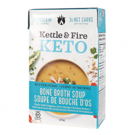 Front of Kettle & Fire Butter Curry Keto Soup with Chicken Bone Broth, 479g