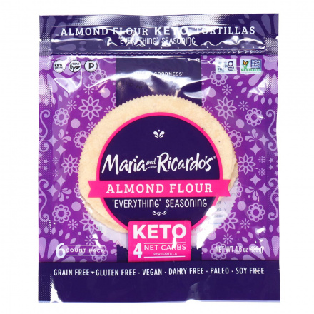 Front of Maria & Ricardo's 6 Almond Flour Keto Tortillas With Everything Seasoning, Pack of 6