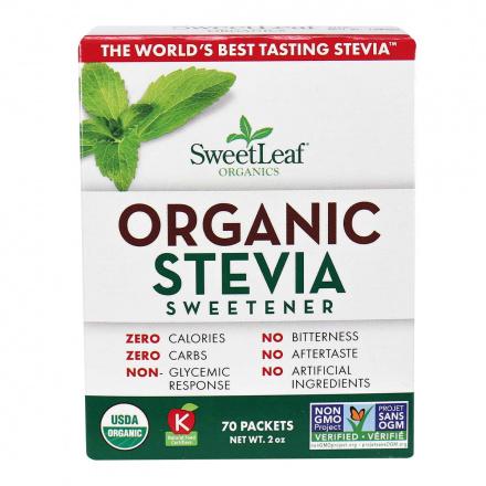 Front of Sweetleaf Organic Stevia Sweetener Packets