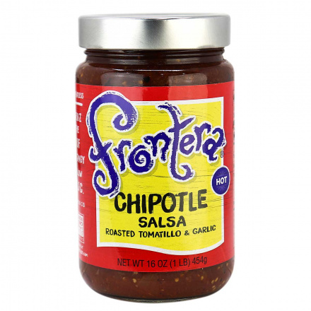 Front of Frontera Chipotle Salsa With Roasted Tomatillo and Garlic, 454g
