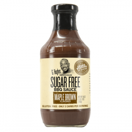 Front of G Hughes Sugar Free BBQ Sauce Maple Brown, 490mL