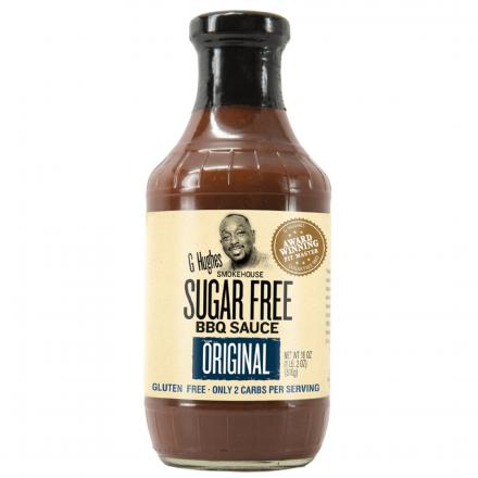 Front of G Hughes No Sugar Added BBQ Sauce Original, 490mL