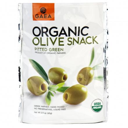 Gaea Organic Green Olives Snack Pack Sea Salt & Lemon, 65g