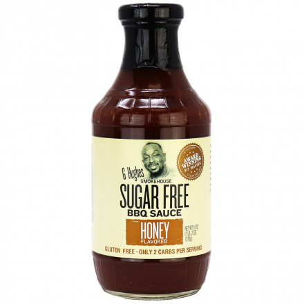 Front of G Hughes Sugar Free BBQ Sauce Honey, 510g