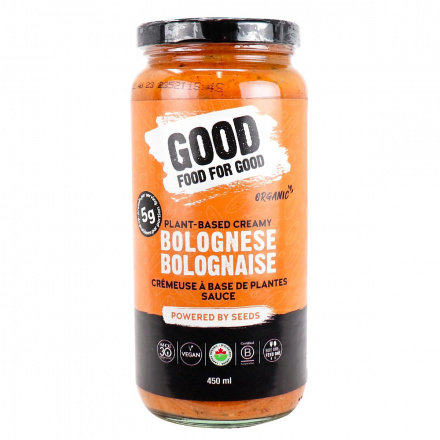 Front of Good Food For Good Plant-Based Organic Bolognese Creamy, 450ml