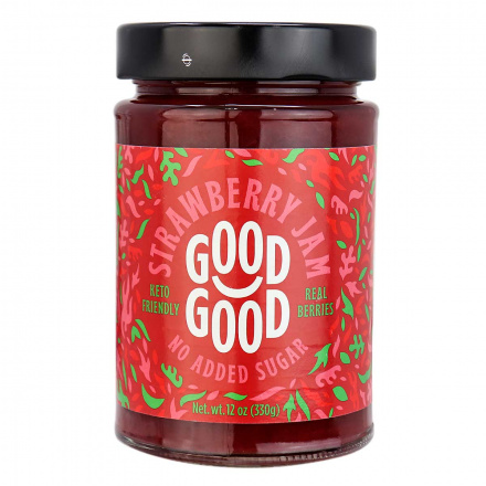 Front of Good Good Sweet Jam with Stevia Strawberry, 330g