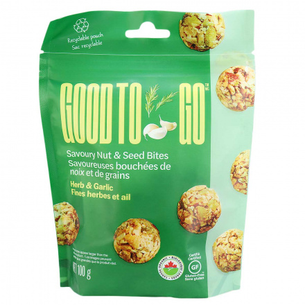 Front of Good to Go Herb & Garlic Savoury Nut & Seed Bites, 100g