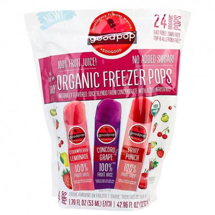 Goodpop Organic Real Fruit Juice Freezer Pops, 24 Pops