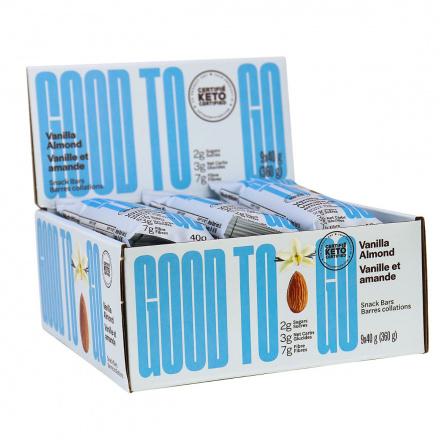 GOOD TO GO Keto Snack Bars Vanilla Almond, 9 Bar Pack