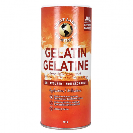 Front of Great Lakes Gelatin Unflavoured, 454g