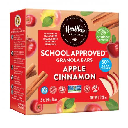 Healthy Crunch Gluten-Free Nut-Free Apple Cinnamon Probiotic Granola Bars, 5 Bars