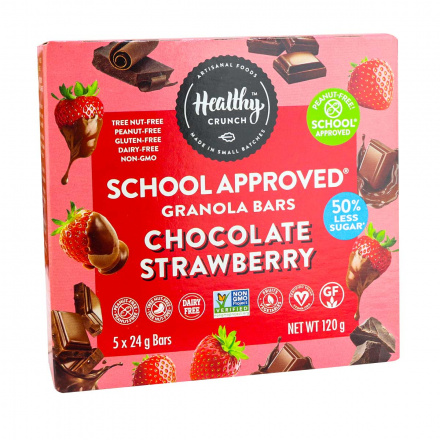 Front of Healthy Crunch School Approved Granola Bars Chocolate Strawberry, 5 bars