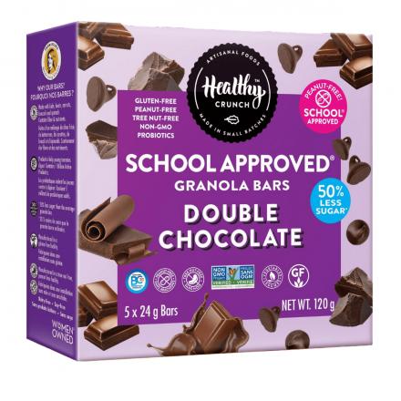 Healthy Crunch Gluten-Free Nut-Free Double Chocolate Probiotic Granola Bars, 5 Bars