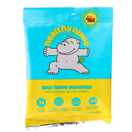 Front of Healthy Hippo Low Sugar Sour Hippo Gummies, 50g