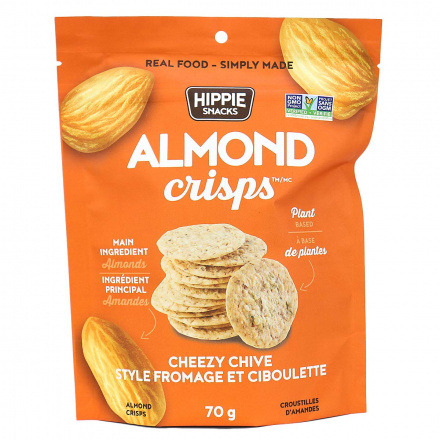 Hippie Snacks Grain-Free Almond Crisps Cheezy Chive, 70g