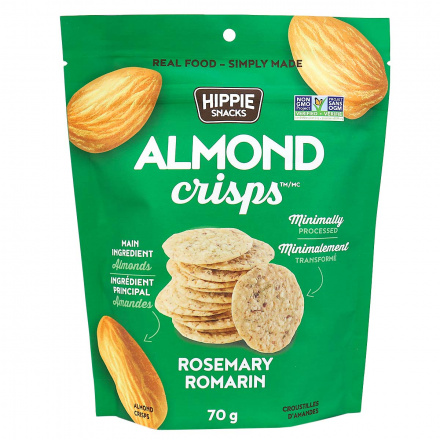 Hippie Snacks Grain-Free Almond Crisps Rosemary, 70g