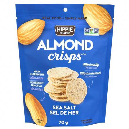 Hippie Snacks Grain-Free Almond Crisps Sea Salt, 70g