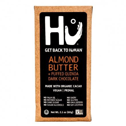 Front of Hu Almond Butter & Puffed Quinoa Chocolate Bar, 60g