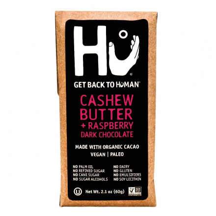Front of Hu Cashew Butter and Raspberry Jelly Dark Chocolate Bar, 60g