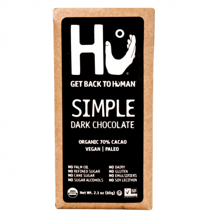 Front of Hu Simple Chocolate Bar, 60g