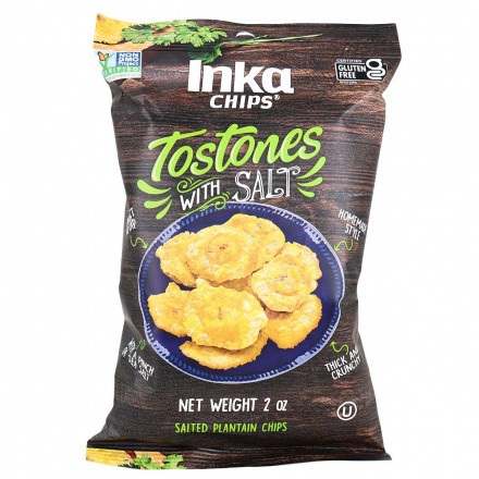 Front of Inka Chips Tostones With Salt Salted Plantain Chips, 2 oz
