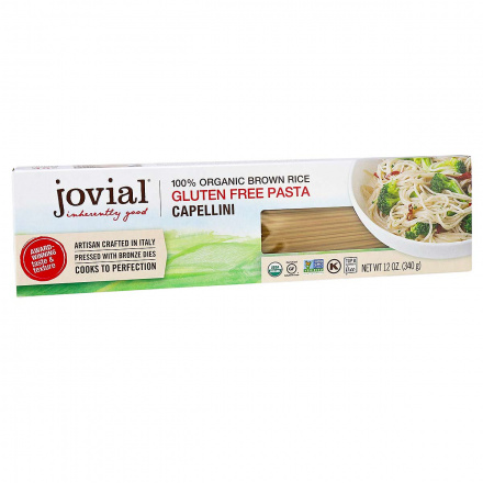 Front of Jovial Gluten-Free Organic Brown Rice Pasta Capellini, 340g