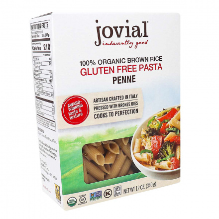 Front of Jovial Gluten-Free Organic Brown Rice Pasta Penne, 340g