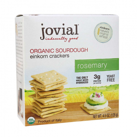 Front of Jovial Organic Sourdough Einkorn Crackers Rosemary, 128g