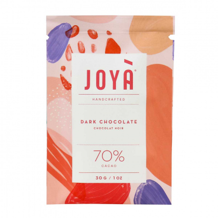 Front of JOYÀ Handcrafted 70% Cacao Dark Chocolate, 30g