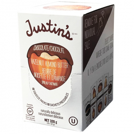Justin's Chocolate Hazelnut Butter Squeeze Pack, 10 Packs