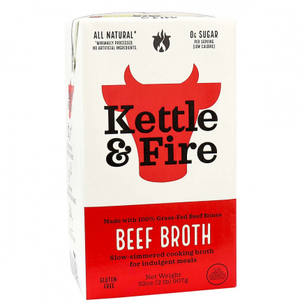 Front of Kettle & Fire Grass-Fed Beef Cooking Broth, 907g