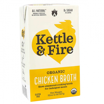 Front of Kettle & Fire Organic Free-Range Chicken Cooking Broth, 907g