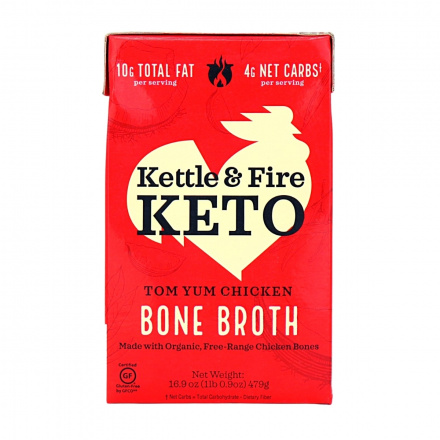 Front of Kettle & Fire Tom Yum Chicken Bone Broth Soup, 479g