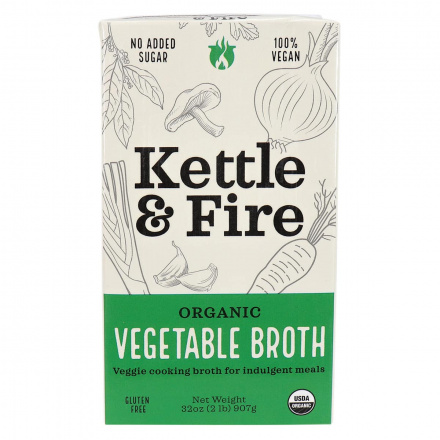 Front of Kettle & Fire Organic Vegetable Broth, 907g