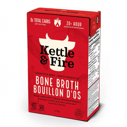 Front of Kettle & Fire Beef Bone Broth Chipotle, 480ml