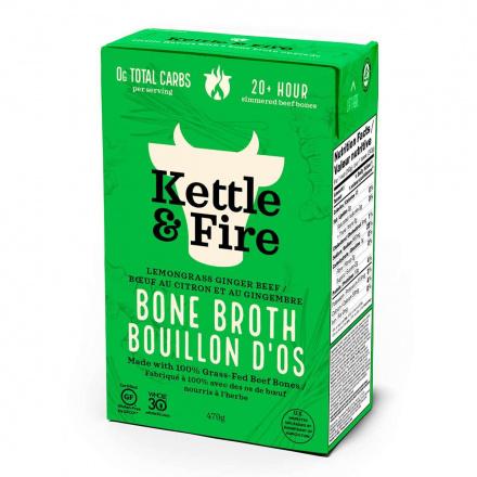 Front of Kettle & Fire Beef Bone Broth Lemongrass Ginger Pho, 480ml