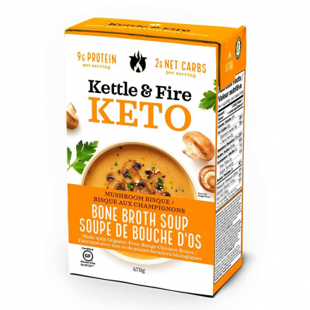 Front of Kettle & Fire Mushroom Bisque Keto Soup with Chicken Bone Broth, 479g