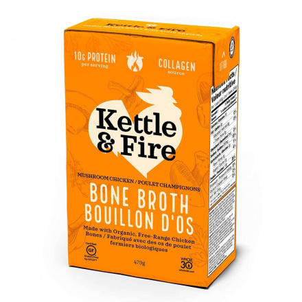 Front of Kettle & Fire Mushroom Chicken Bone Broth, 480ml