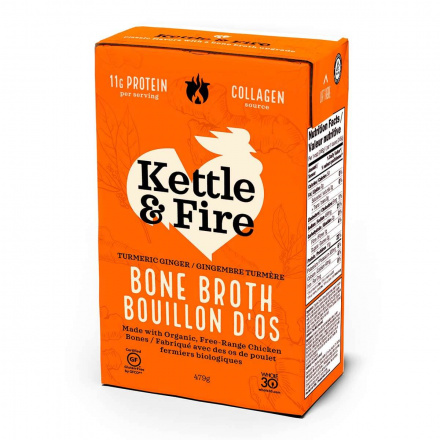 Front of Kettle & Fire Chicken Bone Broth Turmeric Ginger, 480ml