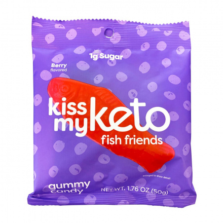 Front of Kiss My Keto Fish Friends Gummy Candy, 50g